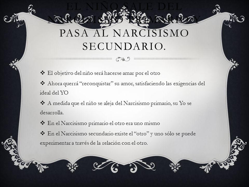 El niño sale del narcisismo primario y pasa al narcisismo secundario.