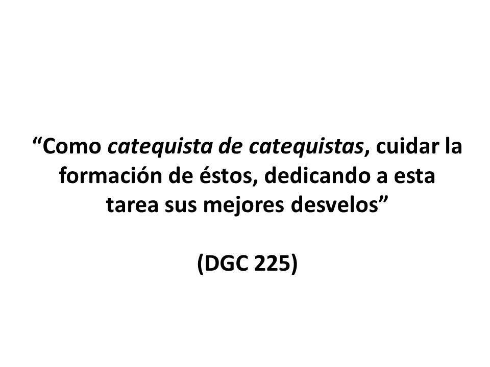 Como catequista de catequistas, cuidar la formación de éstos, dedicando a esta tarea sus mejores desvelos (DGC 225)