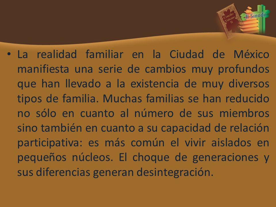 La realidad familiar en la Ciudad de México manifiesta una serie de cambios muy profundos que han llevado a la existencia de muy diversos tipos de familia.
