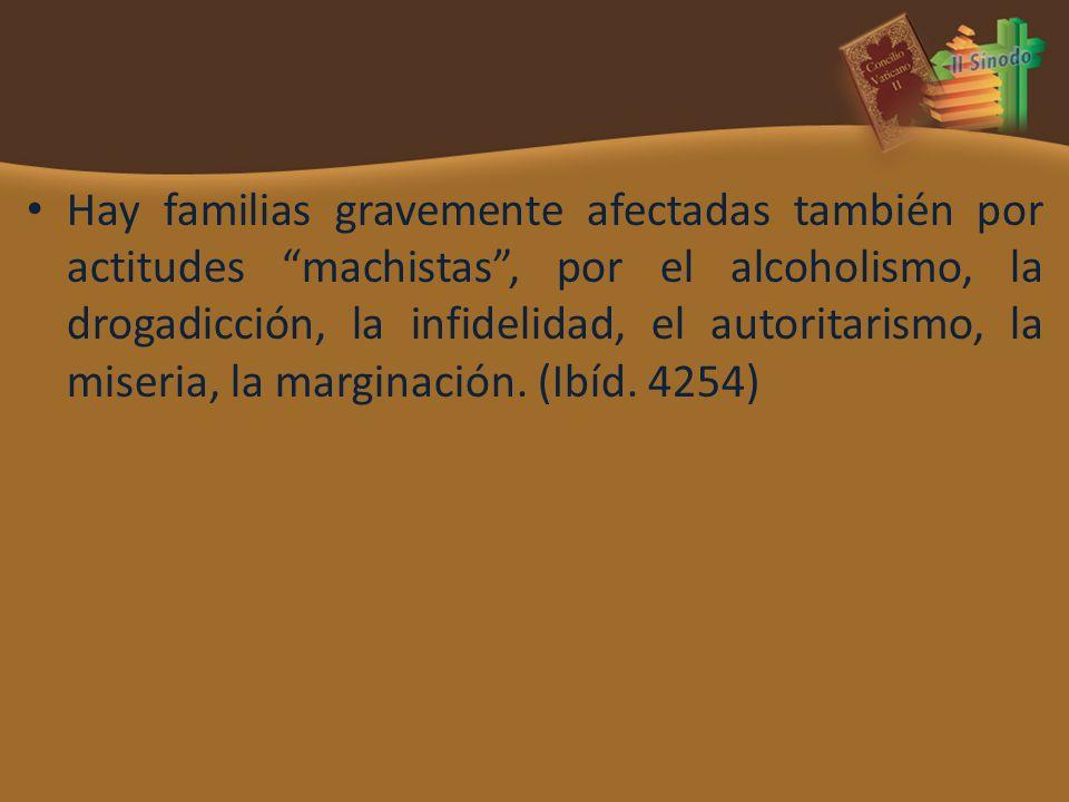 Hay familias gravemente afectadas también por actitudes machistas , por el alcoholismo, la drogadicción, la infidelidad, el autoritarismo, la miseria, la marginación.