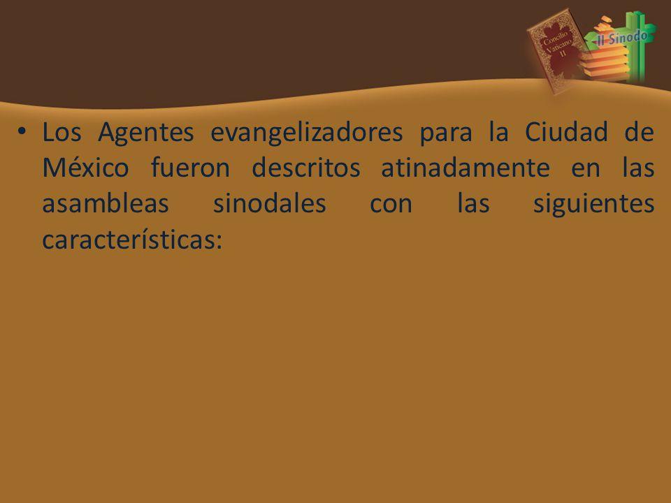 Los Agentes evangelizadores para la Ciudad de México fueron descritos atinadamente en las asambleas sinodales con las siguientes características: