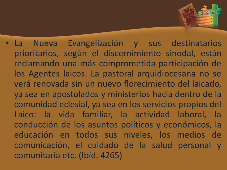La Nueva Evangelización y sus destinatarios prioritarios, según el discernimiento sinodal, están reclamando una más comprometida participación de los Agentes laicos.