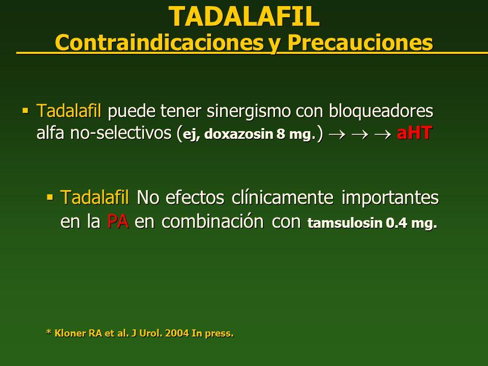 TADALAFIL Contraindicaciones y Precauciones
