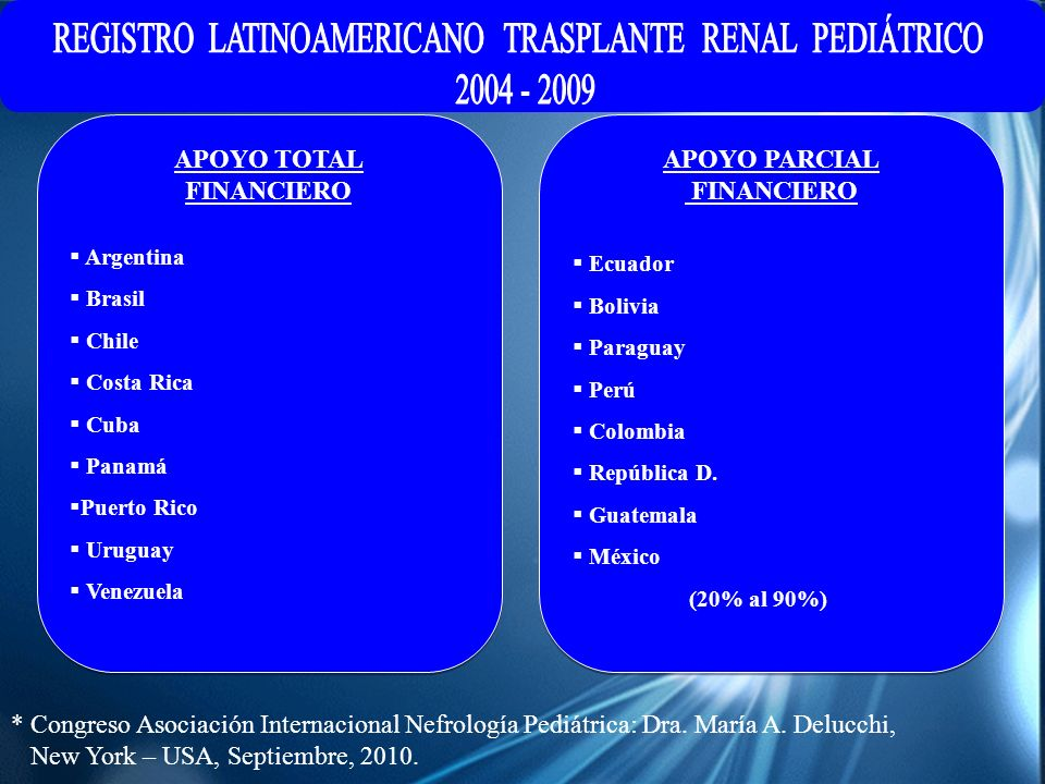 REGISTRO LATINOAMERICANO TRASPLANTE RENAL PEDIÁTRICO