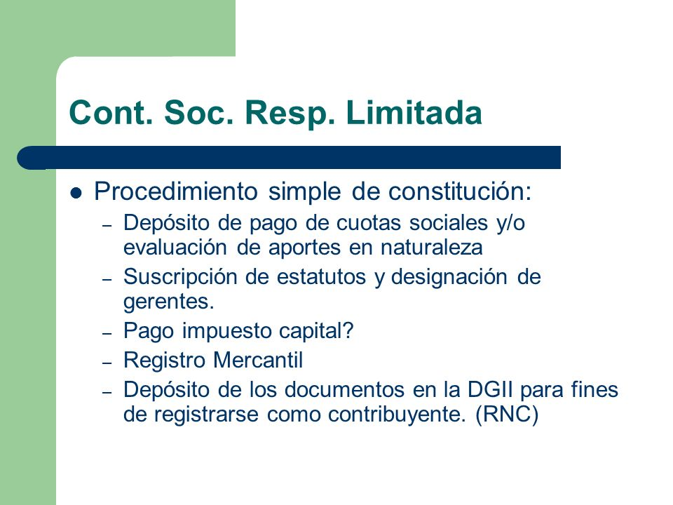 Cont. Soc. Resp. Limitada Procedimiento simple de constitución: