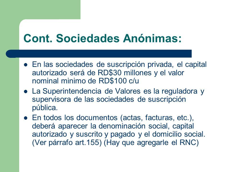 Cont. Sociedades Anónimas: