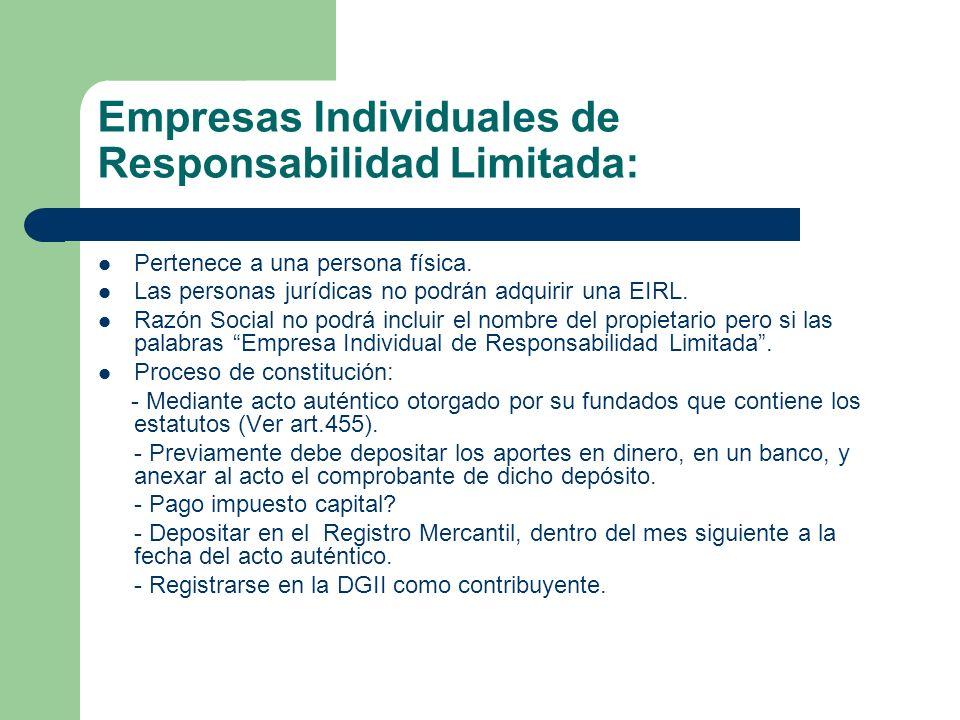 Empresas Individuales de Responsabilidad Limitada: