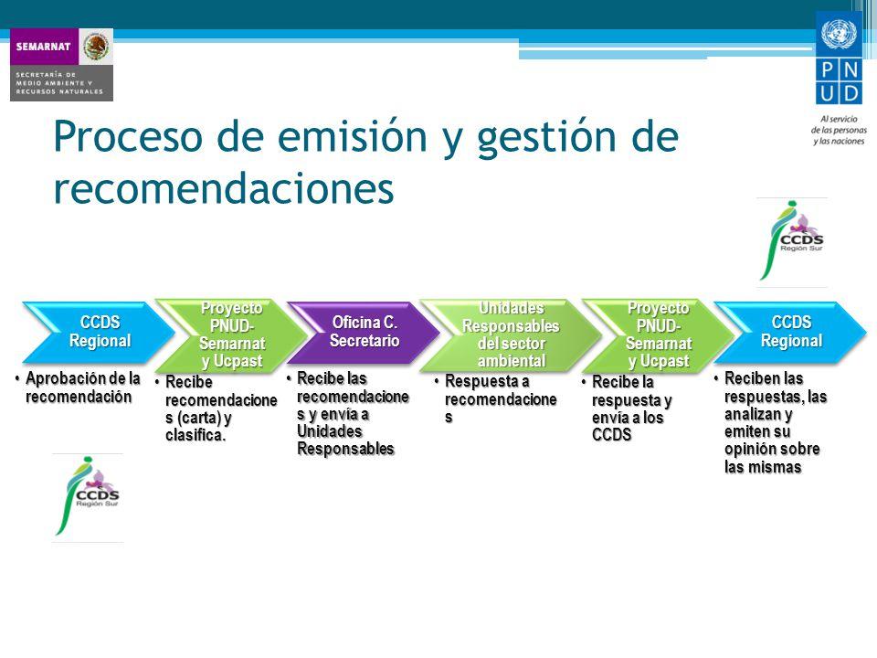 Proceso de emisión y gestión de recomendaciones