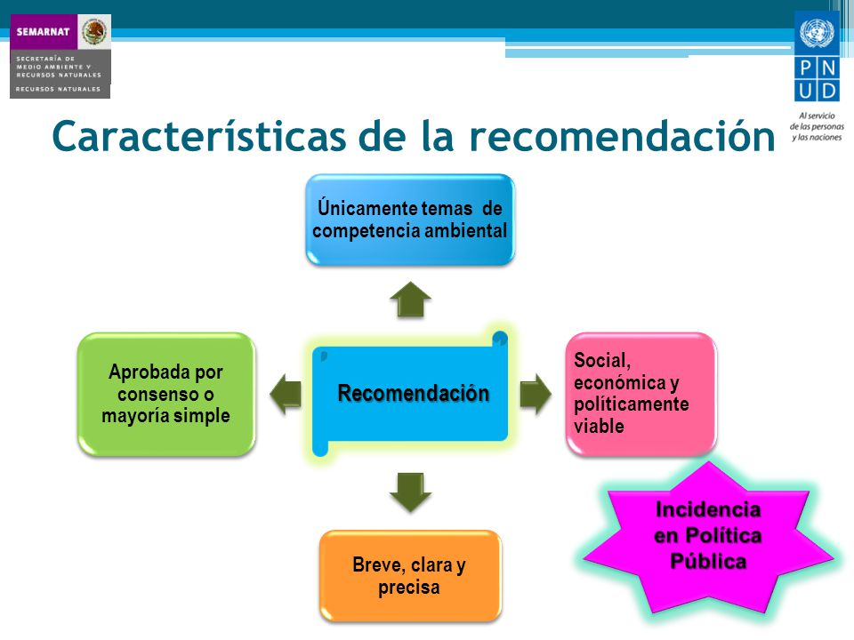 Características de la recomendación