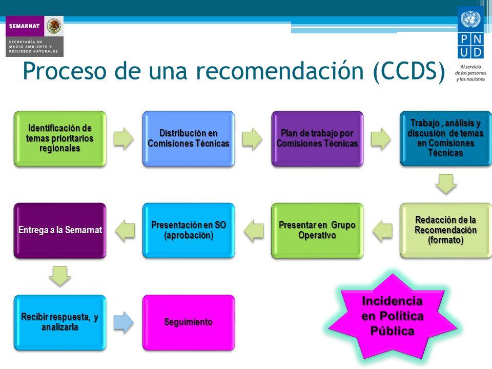 Proceso de una recomendación (CCDS)