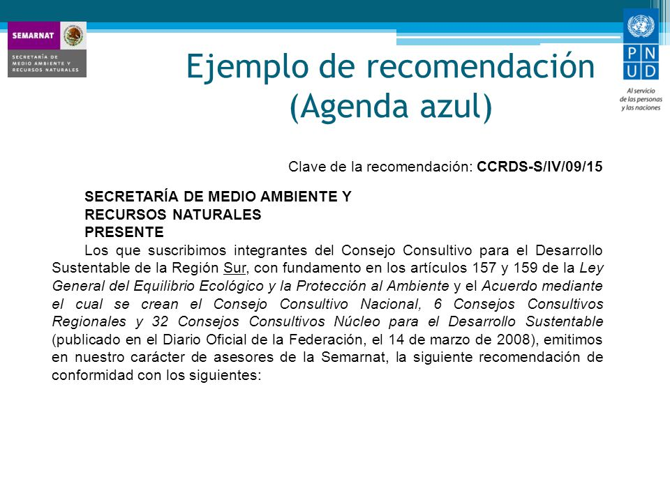 Ejemplo de recomendación (Agenda azul)