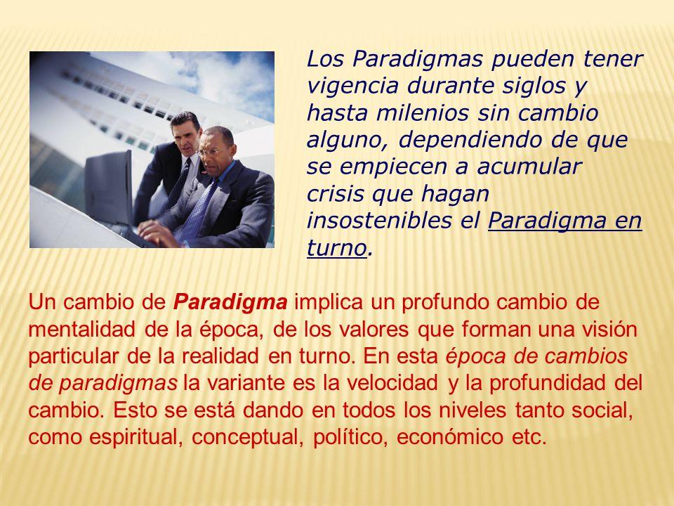Los Paradigmas pueden tener vigencia durante siglos y hasta milenios sin cambio alguno, dependiendo de que se empiecen a acumular crisis que hagan insostenibles el Paradigma en turno.