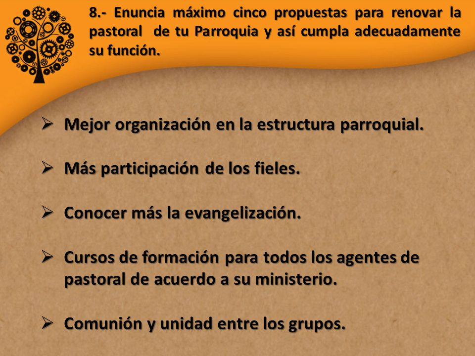Mejor organización en la estructura parroquial.