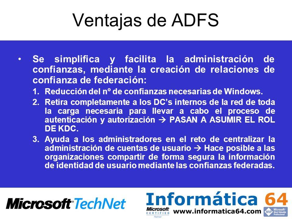 Ventajas de ADFS Se simplifica y facilita la administración de confianzas, mediante la creación de relaciones de confianza de federación: