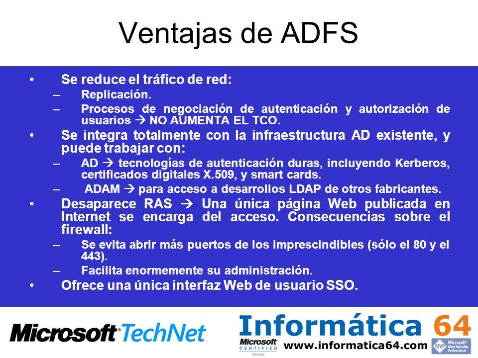 Ventajas de ADFS Se reduce el tráfico de red: