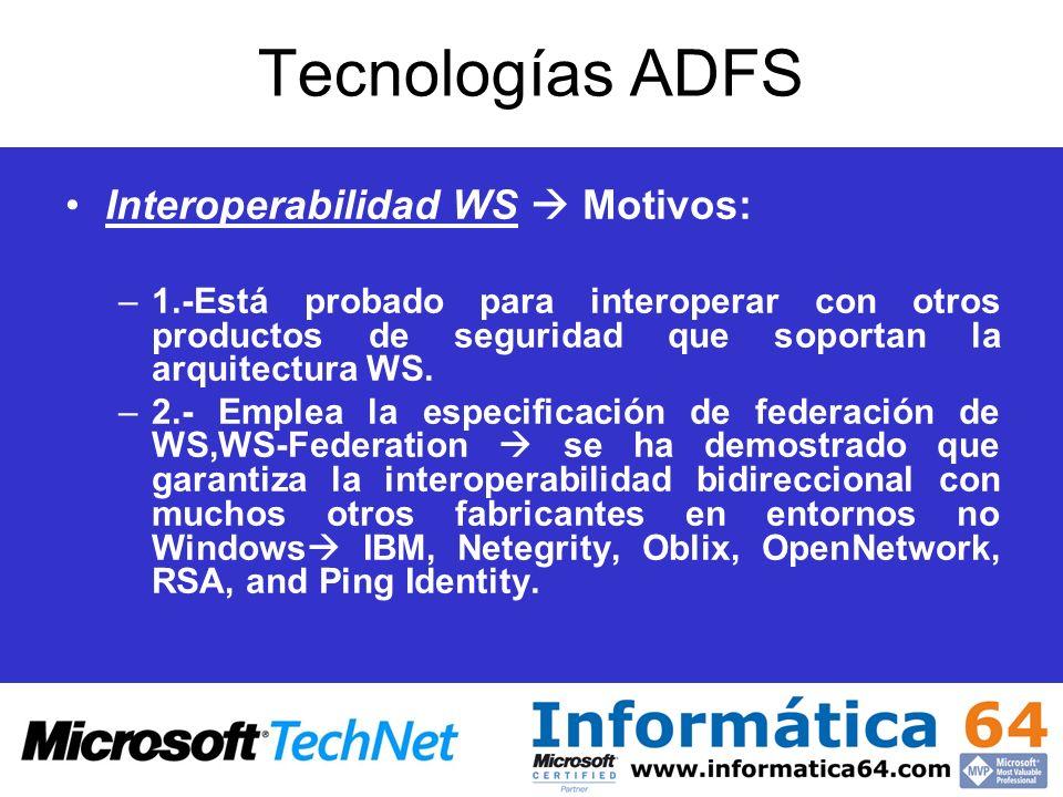 Tecnologías ADFS Interoperabilidad WS  Motivos: