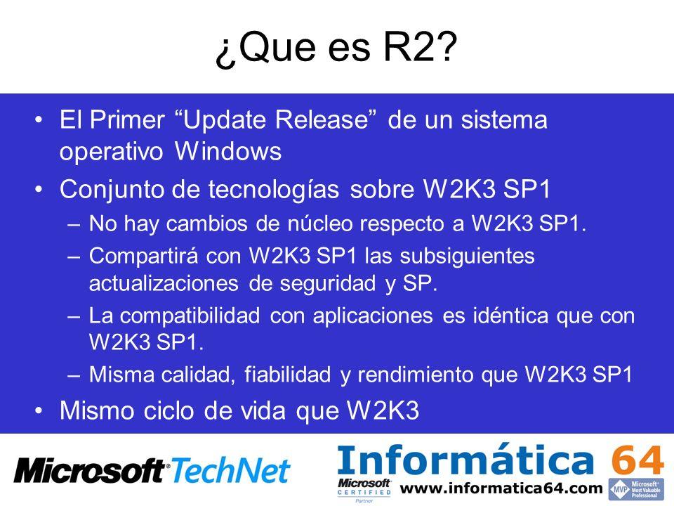 ¿Que es R2 El Primer Update Release de un sistema operativo Windows