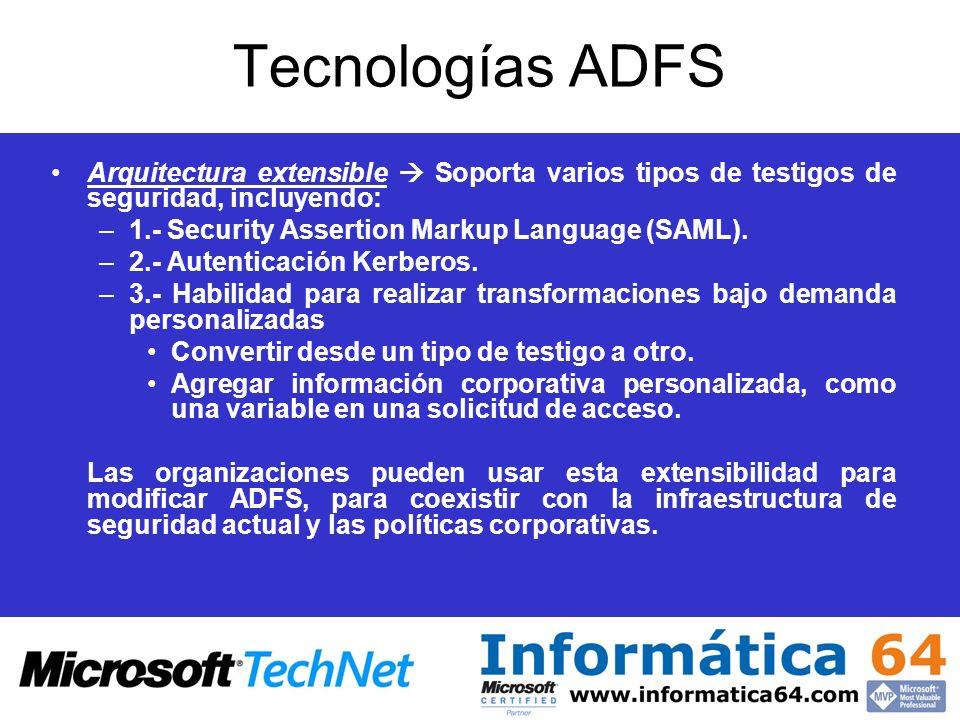 Tecnologías ADFS Arquitectura extensible  Soporta varios tipos de testigos de seguridad, incluyendo: