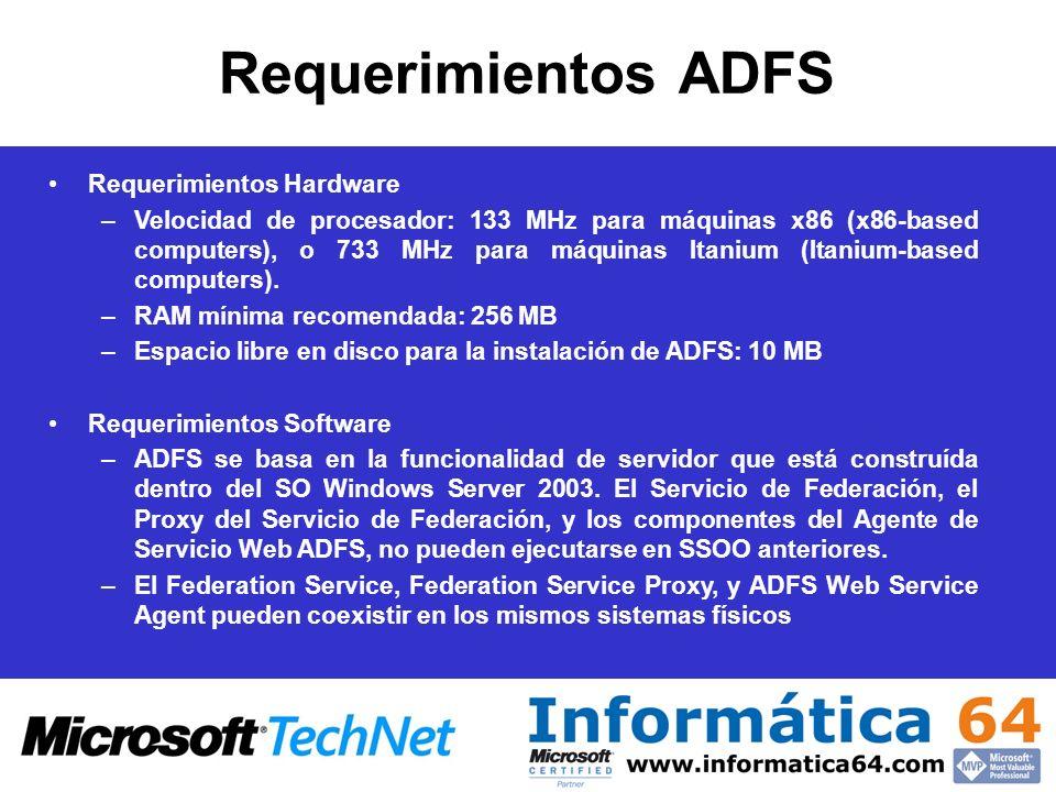 Requerimientos ADFS Requerimientos Hardware