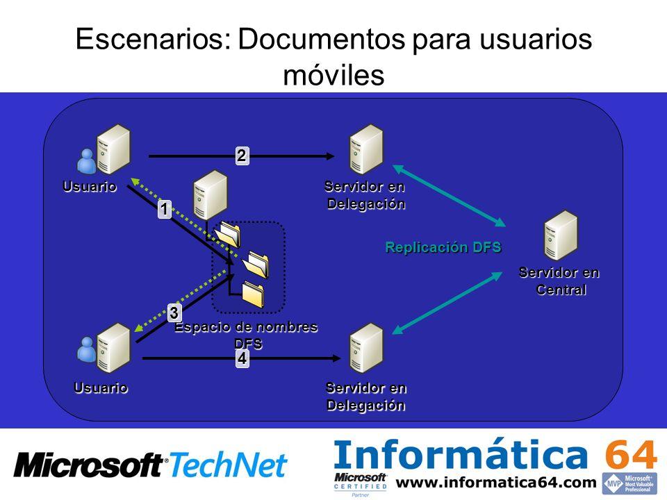 Escenarios: Documentos para usuarios móviles