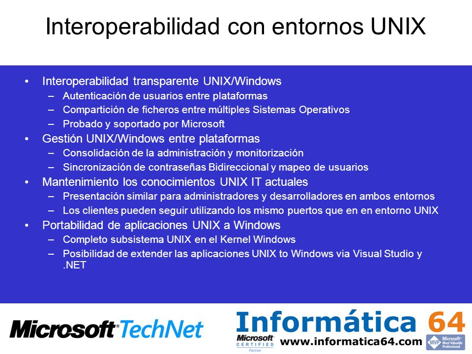 Interoperabilidad con entornos UNIX