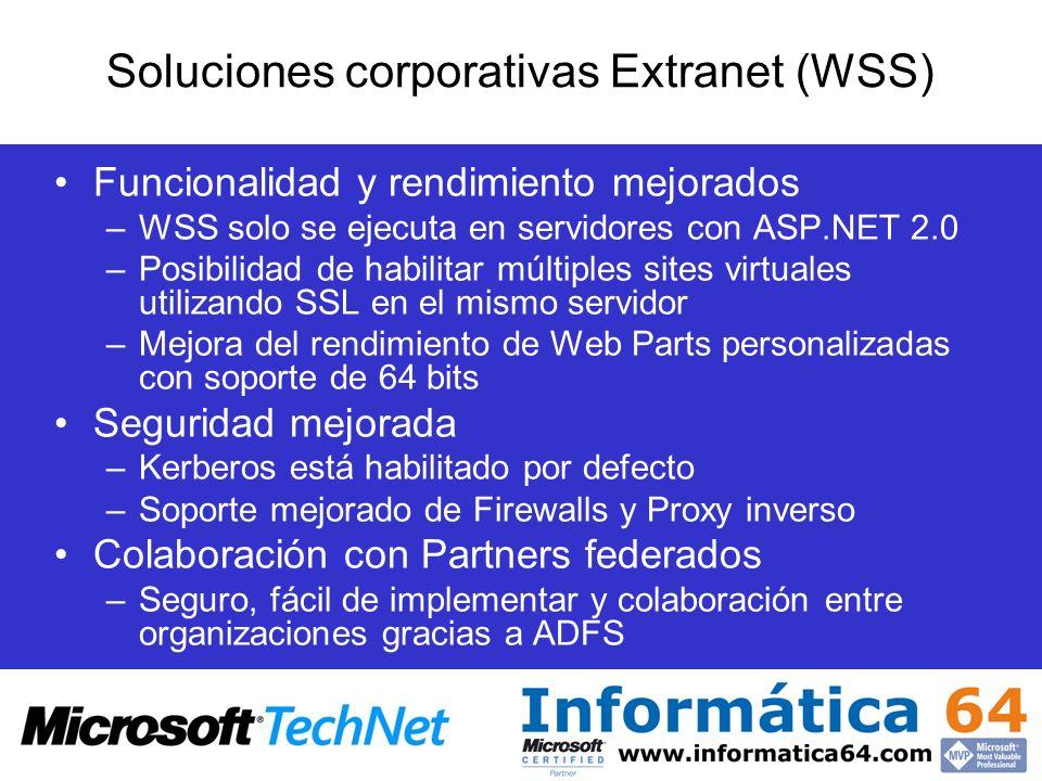 Soluciones corporativas Extranet (WSS)