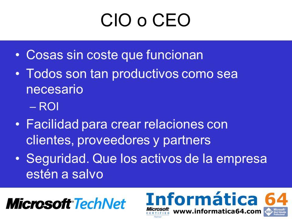 CIO o CEO Cosas sin coste que funcionan