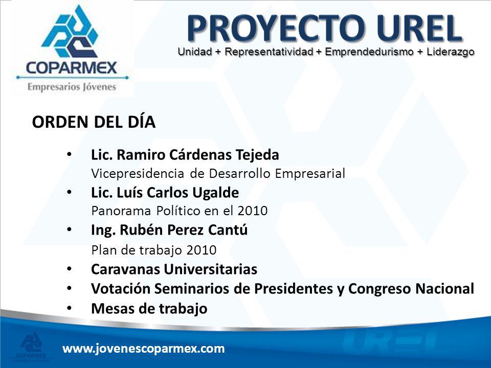Proyecto UREL ORDEN DEL DÍA Lic. Ramiro Cárdenas Tejeda