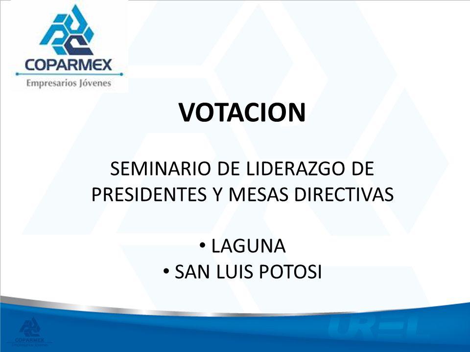 VOTACION SEMINARIO DE LIDERAZGO DE PRESIDENTES Y MESAS DIRECTIVAS