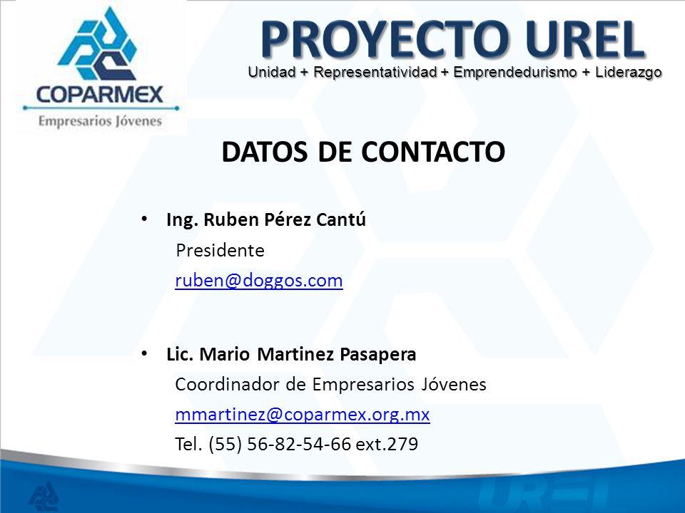 Proyecto UREL DATOS DE CONTACTO Ing. Ruben Pérez Cantú Presidente