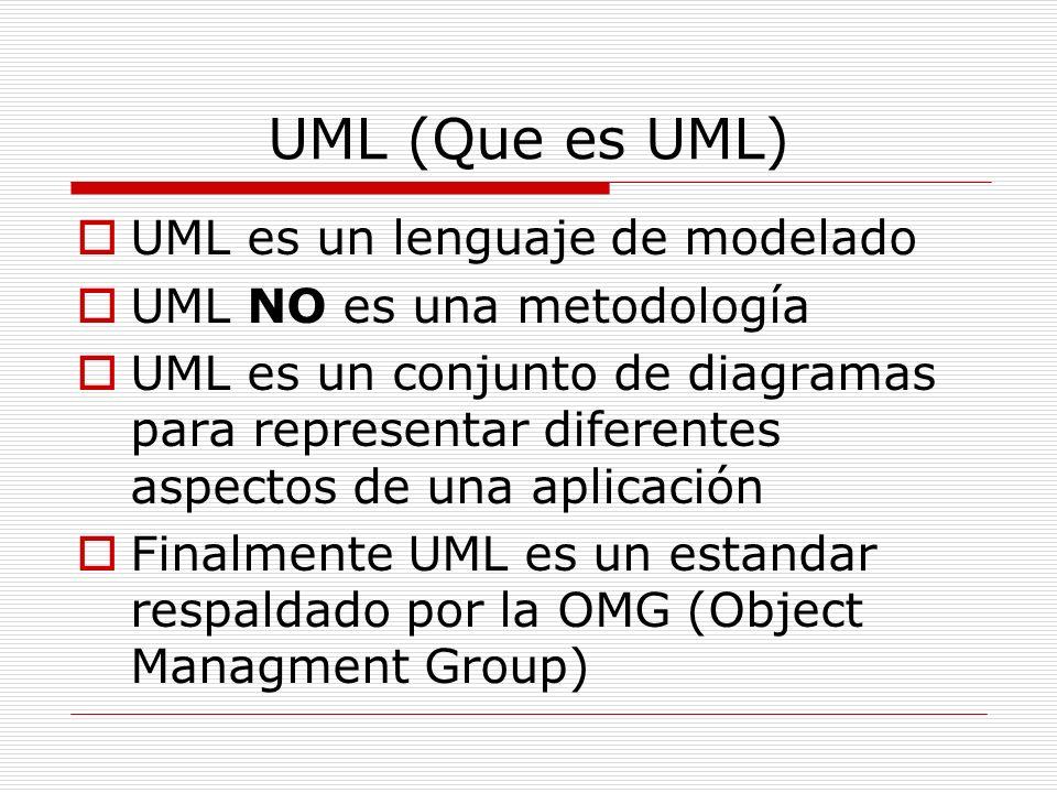 UML (Que es UML) UML es un lenguaje de modelado
