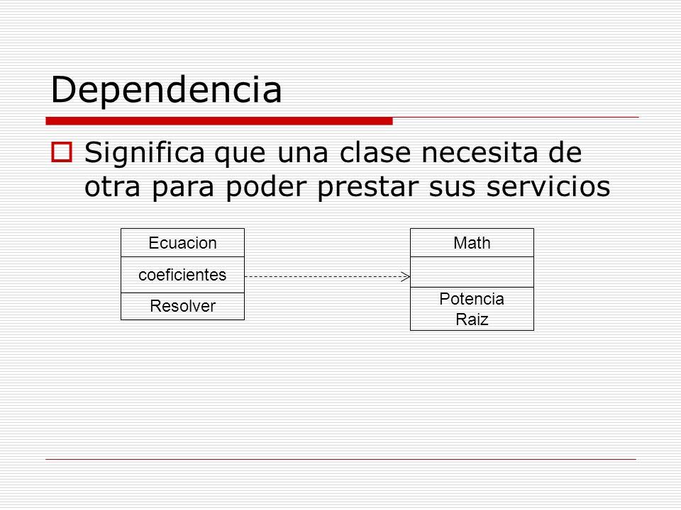 Dependencia Significa que una clase necesita de otra para poder prestar sus servicios. Ecuacion. Math.
