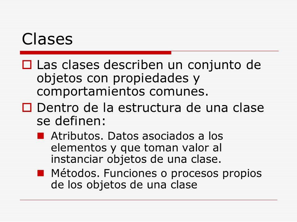 Clases Las clases describen un conjunto de objetos con propiedades y comportamientos comunes. Dentro de la estructura de una clase se definen: