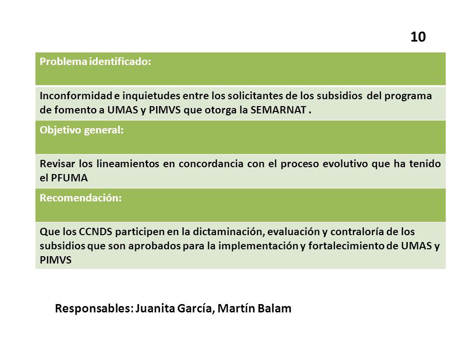 10 Responsables: Juanita García, Martín Balam Problema identificado: