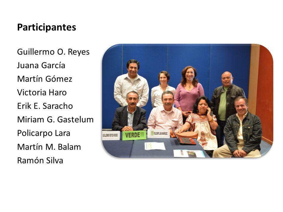Participantes Guillermo O. Reyes Juana García Martín Gómez