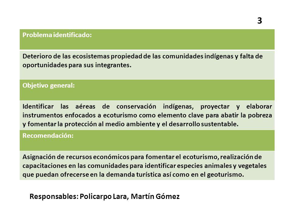 3 Responsables: Policarpo Lara, Martín Gómez Problema identificado: