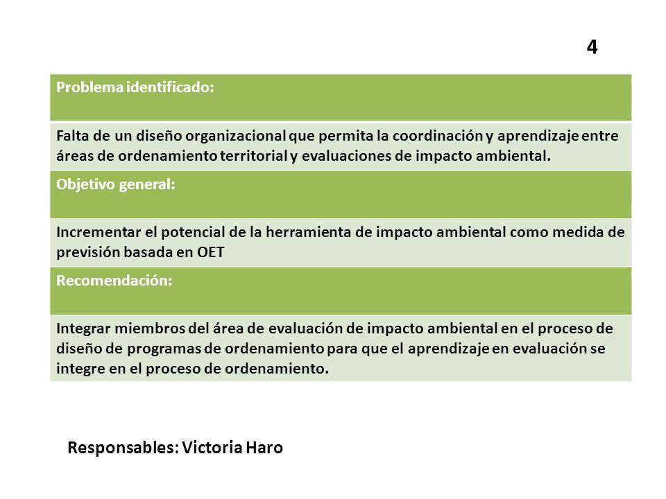 4 Responsables: Victoria Haro Problema identificado: