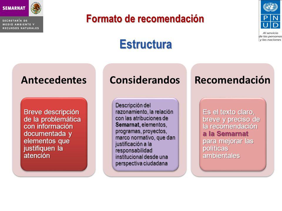 Estructura Formato de recomendación