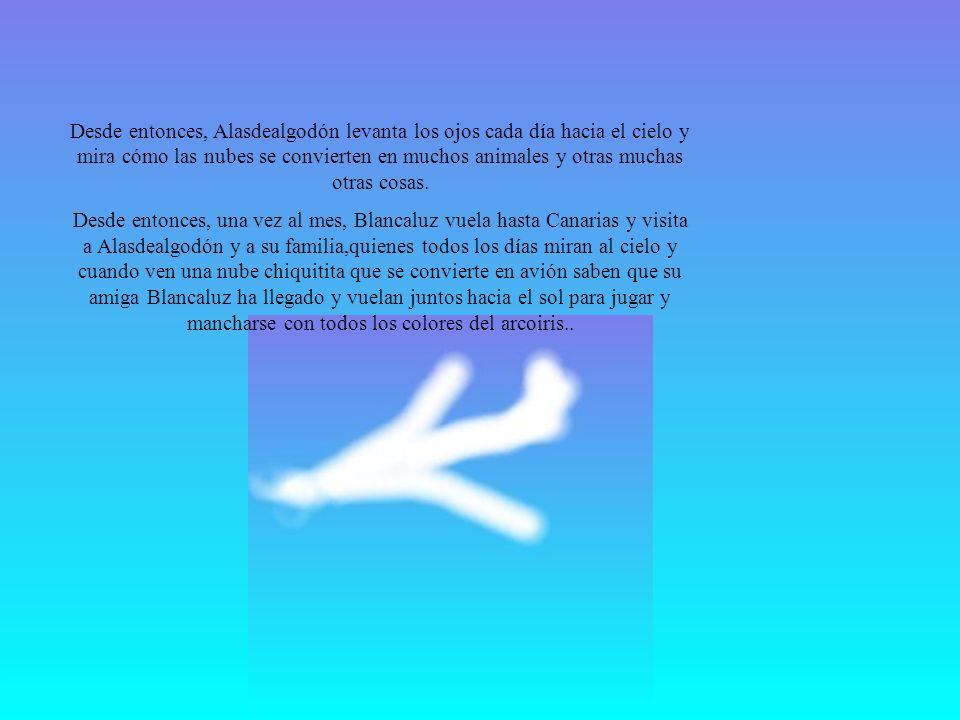 Desde entonces, Alasdealgodón levanta los ojos cada día hacia el cielo y mira cómo las nubes se convierten en muchos animales y otras muchas otras cosas.