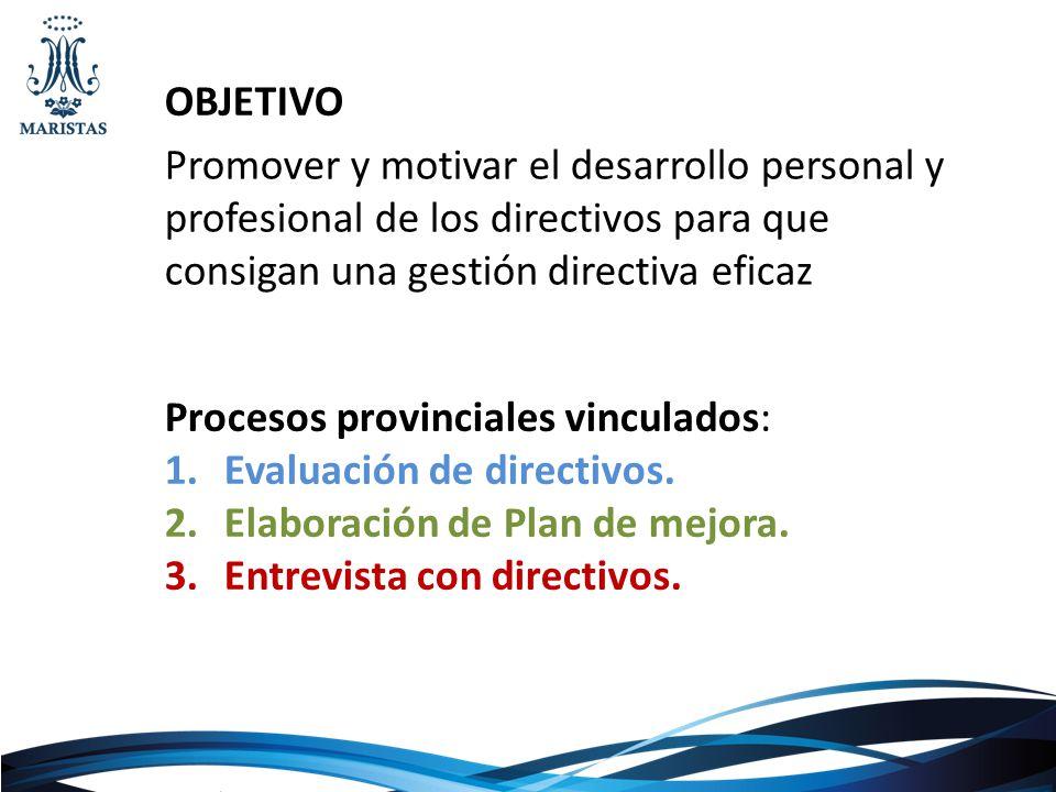 OBJETIVO Promover y motivar el desarrollo personal y profesional de los directivos para que consigan una gestión directiva eficaz.