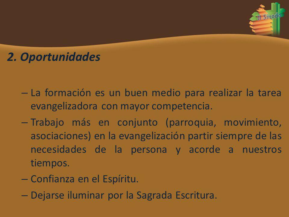2. Oportunidades La formación es un buen medio para realizar la tarea evangelizadora con mayor competencia.