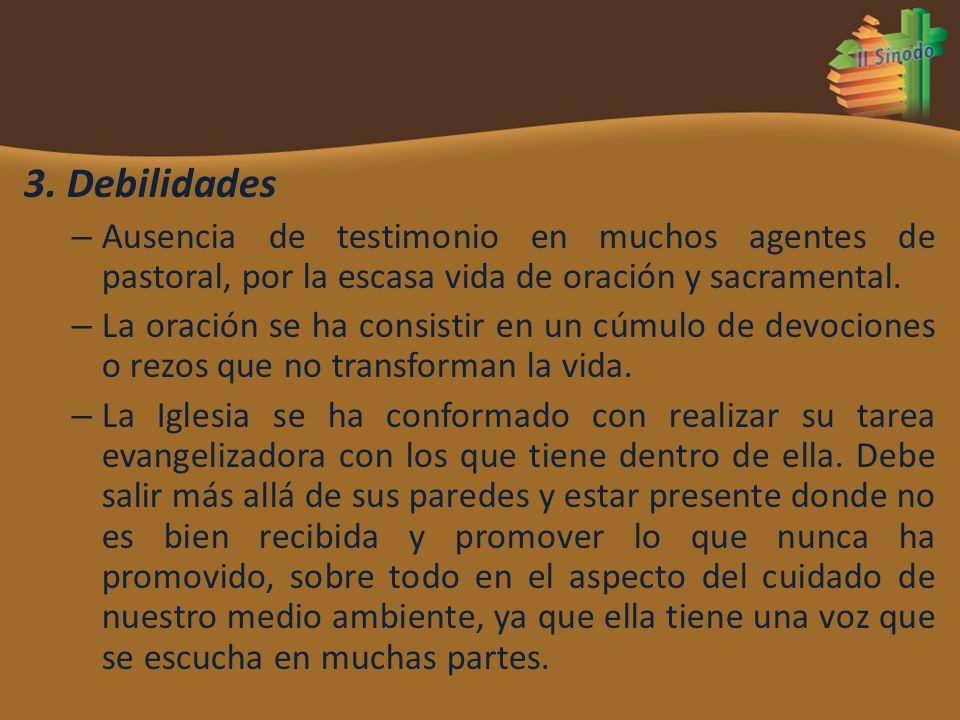 3. Debilidades Ausencia de testimonio en muchos agentes de pastoral, por la escasa vida de oración y sacramental.