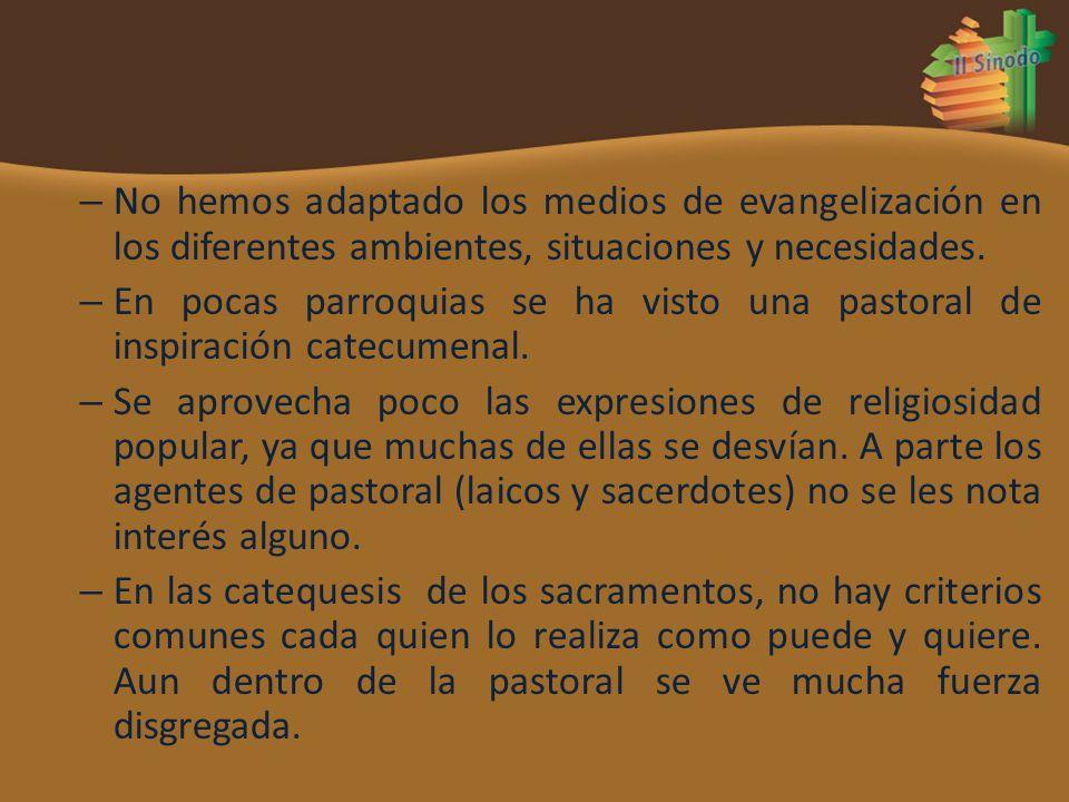 No hemos adaptado los medios de evangelización en los diferentes ambientes, situaciones y necesidades.
