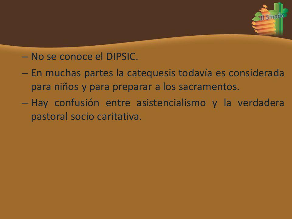 No se conoce el DIPSIC. En muchas partes la catequesis todavía es considerada para niños y para preparar a los sacramentos.