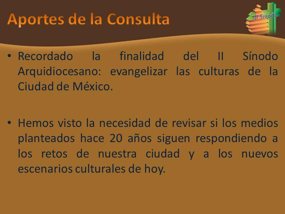 Aportes de la Consulta Recordado la finalidad del II Sínodo Arquidiocesano: evangelizar las culturas de la Ciudad de México.