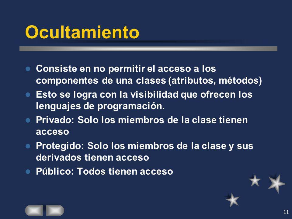 Ocultamiento Consiste en no permitir el acceso a los componentes de una clases (atributos, métodos)