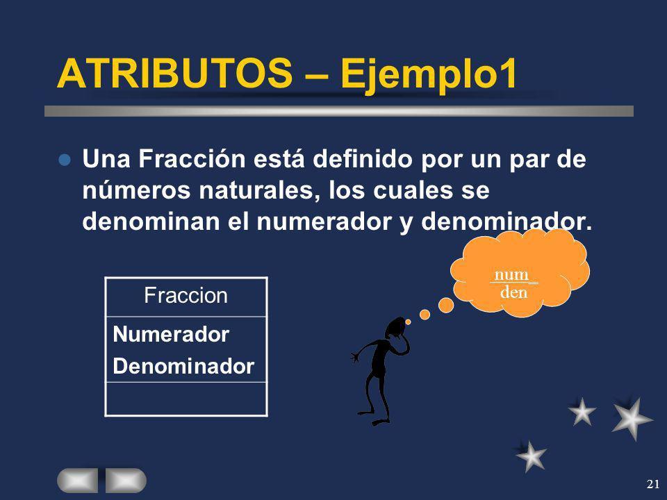 ATRIBUTOS – Ejemplo1 Una Fracción está definido por un par de números naturales, los cuales se denominan el numerador y denominador.