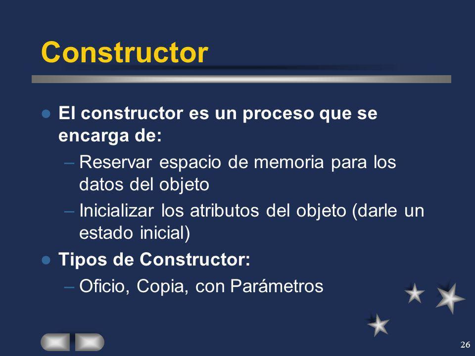 Constructor El constructor es un proceso que se encarga de: