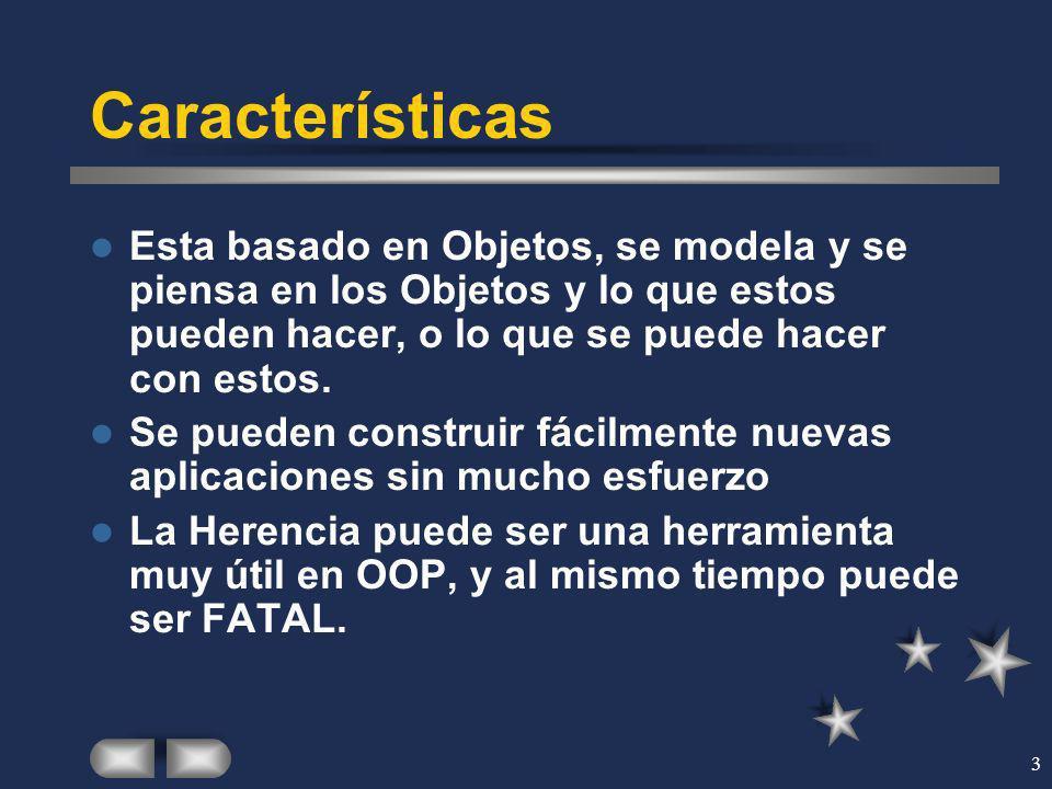 Características Esta basado en Objetos, se modela y se piensa en los Objetos y lo que estos pueden hacer, o lo que se puede hacer con estos.