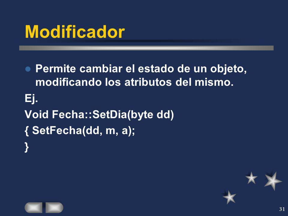 Modificador Permite cambiar el estado de un objeto, modificando los atributos del mismo. Ej. Void Fecha::SetDia(byte dd)